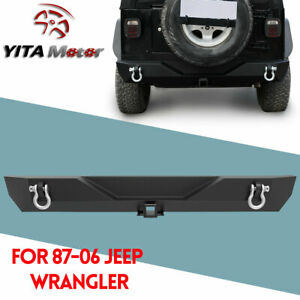 Powder Coated Rear Bumper W D Rings Fit Jeep Wrangler 87 95 Yj 97 06 Tj