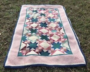 Vintage Wool Hook Rug In Quilt Pattern Pink Multi 40x62 Estate Find As Is