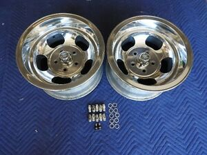 Vintage Pair Polished 15x8 5 Real Ansen Indy Mags 5 On 4 3 4 Chevy Pontiac Van