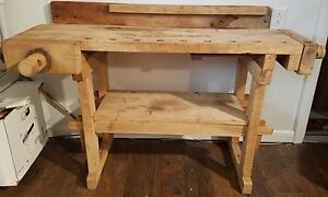 Antique Hammacher Schlemmer Woodworker s Bench Workbench Kitchen Island Desk