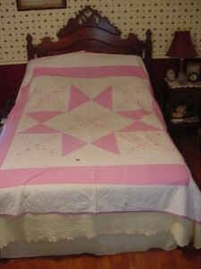 1960s Embriodered And Pieced Quilt Pink White As Is For Crafts