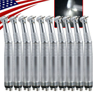 10pc Dental Led Fiber Optic E generator High Speed Handpiece 4 Hole Fit Kavo Nsk