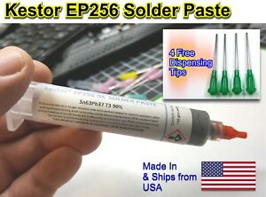 Kester Ep256 Lead Solder Paste 63 37 Syringe Dispenser W additional Tips