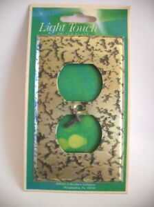 Vintage Nos Brass Colored Steel Outlet Wall Cover Plate Hammered Etched Look