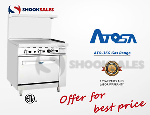 Atosa Ato 36g Propane Gas 36 Gas Range 36 Griddle With 26 5 Wide Stove Etl