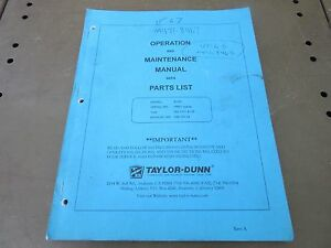 Taylor Dunn Operator Maintenance Manual With Parts List Model R3 80