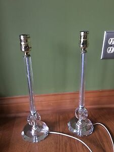 Pair Vintage Antique Table Lamps Italian Crystal Glass Brass Sockets 16 58c