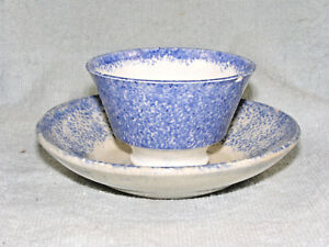 Antique Blue Spatterware Child S Handleless Cup Saucer