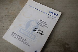 Wacker Wp1550a Vibratory Plate Owner Operator Parts Manual Book Catalog Spare