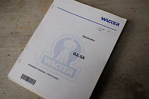Wacker G2 5a Generator Owner Operator Parts Manual Book Operation Catalog Spare