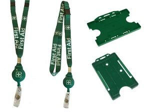 Green First Aid Lanyard Badge Reel Lanyard Combo With Double Safety Breakaway
