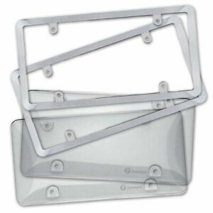 Zone Tech 2x Clear Tag License Plate Shield Cover And Chrome Frame Truck Car