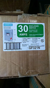 Siemens Gf321n 30amp 240v Fusible 4wire Disconnect Switch Nema 1 New