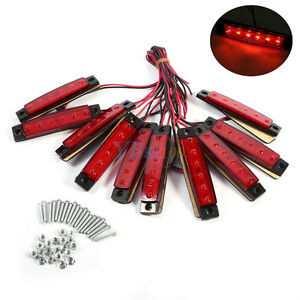 10x 24v Smd 6 Led Red Rear Side Marker Light Position For Truck Trailer Lorry