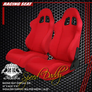 1 Pair Universal Light Weight Fully Reclinable Racing Woven Seats Type F1 Red
