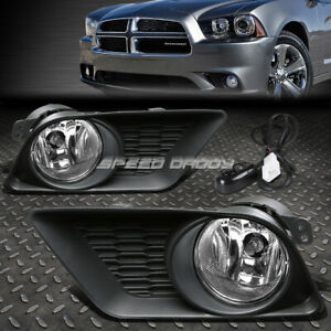 For 11 14 Dodge Charger Clear Lens Bumper Driving Fog Light Lamp W bezel switch