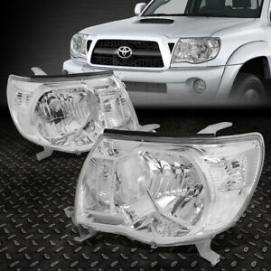 For 2005 2011 Toyota Tacoma Pair Chrome Housing Clear Corner Headlight lamp Set