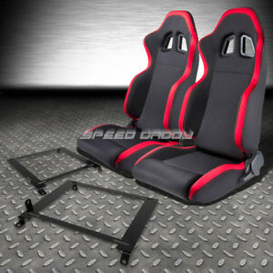 2 X Red Trim Sports Fabric Racing Seats Low Mount Bracket For 01 05 Honda Civic