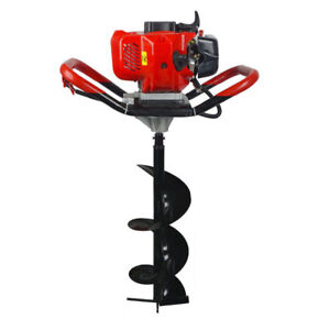 2 2hp Gas Powered 52cc Post Hole Digger 4 8 10 Earth Auger Ground Drill
