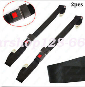 2x Car Seat Belt Lap 2 Point Safety Travel Adjustable Retractable Auto Universal