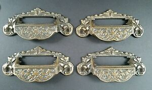 4 Victorian Antique Style Apothecary Bin Pull Handles W Label Holder 3 3 4 C A7
