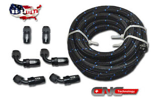 An10 An 10 Black Swivel Fitting Steel Nylon Braided Oil Fuel Line Hose 12ft Kit