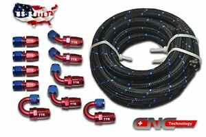 An6 6an 20ft Nylon Steel Braided Oil Fuel Line 10 Fittings End Adaptor Kit