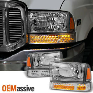 Fit 1999 2004 Ford F series 00 04 Excursion Headlights W led Bumper Signal