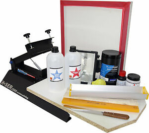 Screen Printing T shirt Press Frame Squeegee Emulsion Exposure Set Machine Kit