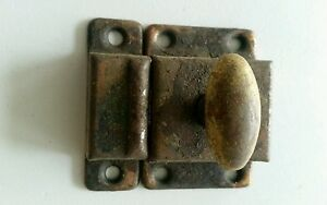 Old Vintage Metal 2 By 2 Inch Cabinet Latch Lock With Turn Knob B