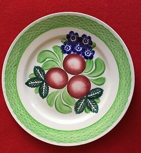 19th C Adams Tunstall Pottery Basketweave Plate Fruit Flowers Green Spatterware