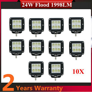 10x 24w Square Cree Cube Pods Led Work Light Offroad Driving Fog 4wd Suv 12v 24v