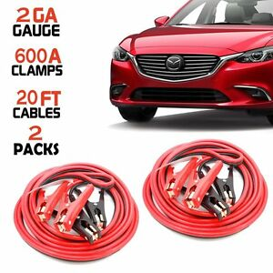 20ft 2 Ga New Booster Jumper Cables Auto Car Jumping Cables Heavy Duty Gauge 2pk
