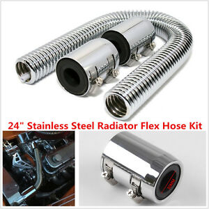 24 Universal Chrome Stainless Steel Radiator Flex Coolant Water Hose Kit W Caps