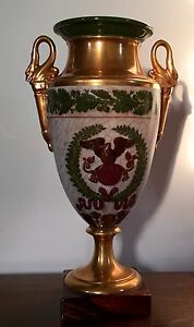 Antique 19th C Old Paris Porcelain Vase Urn Napoleon Lefebvre Rue Amelot 1810