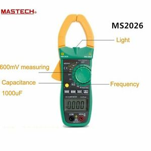 Mastech Ms2026 Digital Current Clamp Meter Auto Range Ammeter Voltmeter Ohmmeter