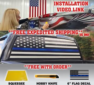 Thin Blue Line Police Support American Flag Pickup Truck Rear Window Decal Usa