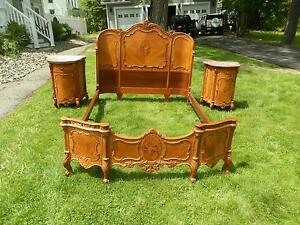 Fine Ny Art Deco Period Inlaid Bedroom Suite W Linnen Chest Bedside Tables