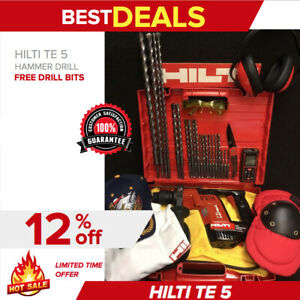 Hilti Te 5 Hammer Drill Free Laser Meter Bits A Lot Of Extras Quick Ship