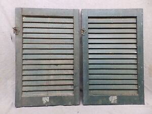 Two Antique Window Wood Louvered Shutter Shabby Old Chic Vtg 27x18 304 17r