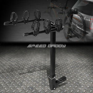 Powdered Coated 2 Hitch Fold Up Mount Rear Trailer Bicycle Rack Carrier Storage
