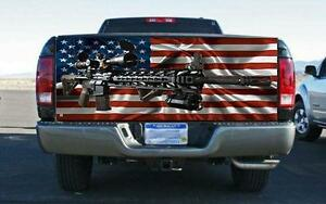 Machine Gun Flag Truck Tailgate Wrap Vinyl Graphic Decal Sticker Wrap