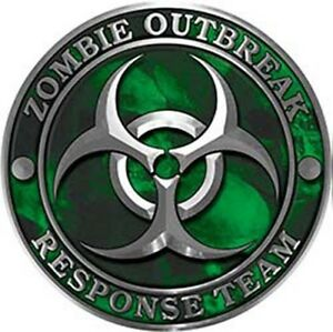 Zombie Response Team Zombie Outbreak Decal Green Skulls 6 Reflective 5 Pack