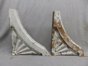 Antique Pair Wood Gingerbread Corbels Shabby Cottage Chic Vintage 327 17r