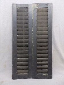 Antique Pair Window Wood Louvered Shutter Shabby Old Chic Vtg 32x8 335 17r