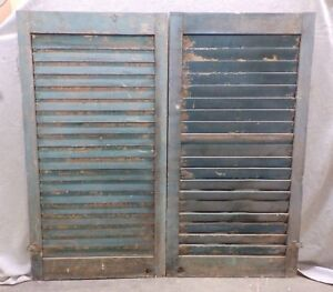 Antique Pair Window Wood Louvered Shutter Shabby Old Chic Vtg 41x21 337 17r