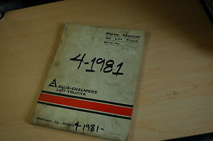 Allis Chalmers Ace Forklift Truck Parts Manual Book Catalog Cushion Electric 20