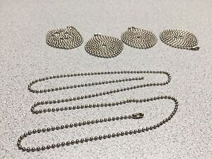 Qty 5 New 30 Nickel plated Neck Chains 8455 01 435 6149 Necklace Dog Tags Beads