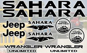 Jeep Sahara Unlimited Decal Sticker Set Of 10