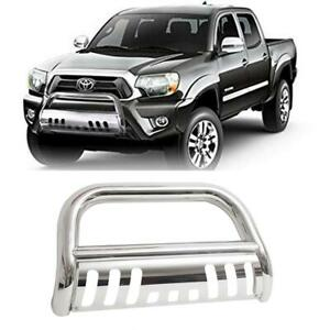 Chrome Front Bull Bar Brush Push Bumper Grille Guard For 05 15 Toyota Tacoma